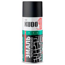 KUDO Краска-спрей универсальная черная матовая, 0,52л, (уп/12шт), арт. KU-1102